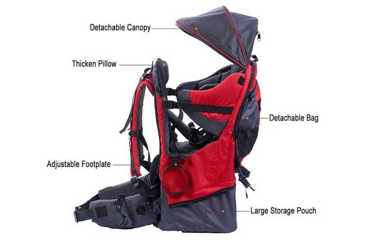 Pawsfiesta Rouge porte-bébé pour randonnée